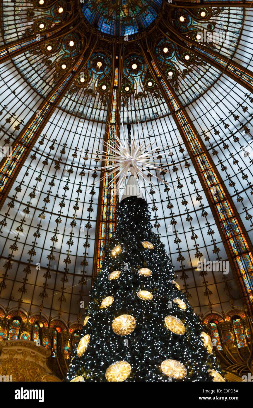Galeries Lafayette Christmas tree Paris - under the famous Art Stock ...