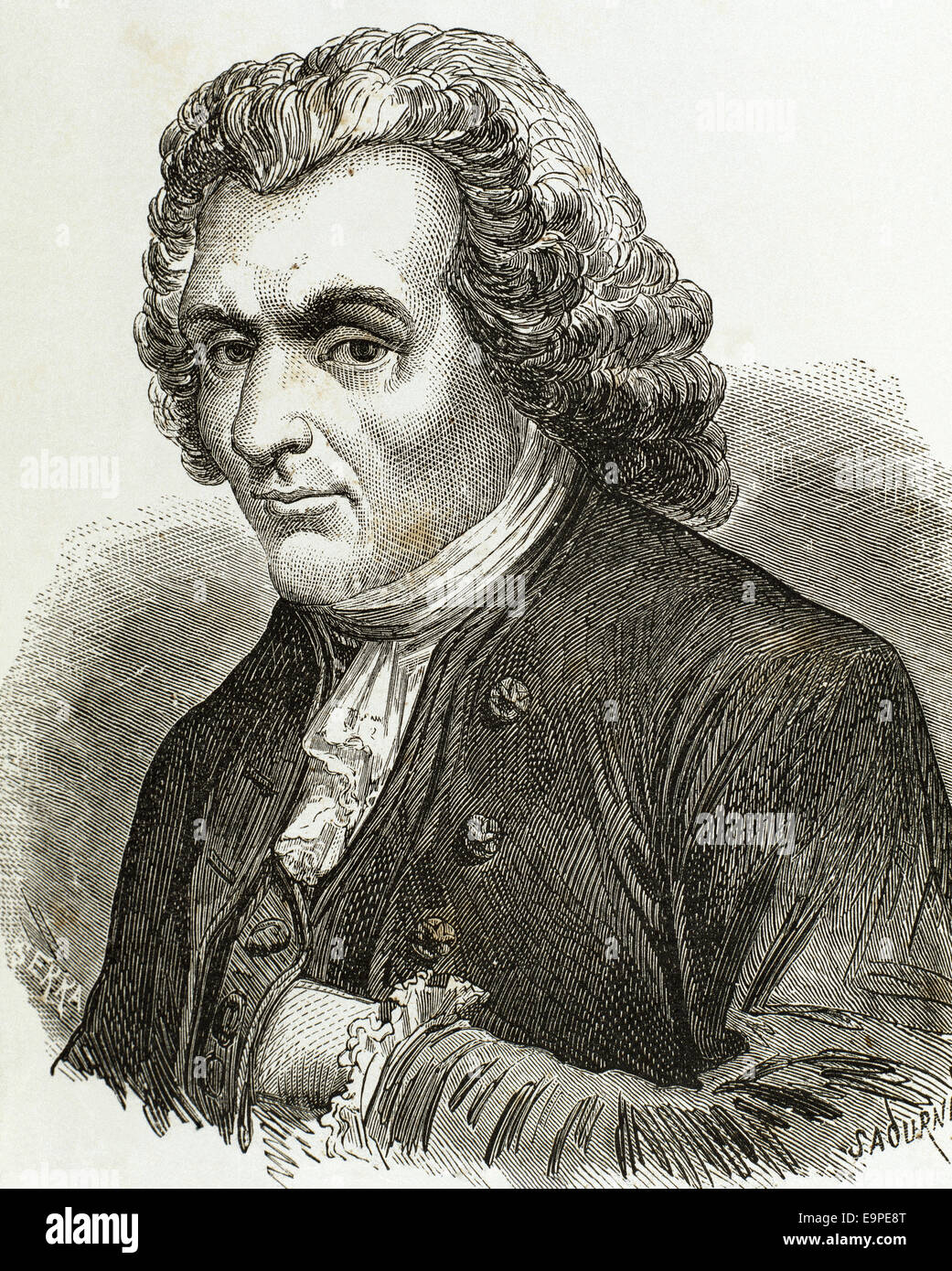 Jean-Jacques Rousseau (1712-1778). Genovese philosopher, writer, and composer. Portrait. Engraving. - Stock Image
