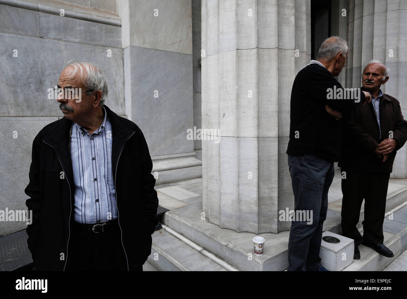 Thessaloniki, Greece. 31st Oct, 2014. Bondholders protest outside the Bank of Greece. On the occasion of World Savings - Stock Image