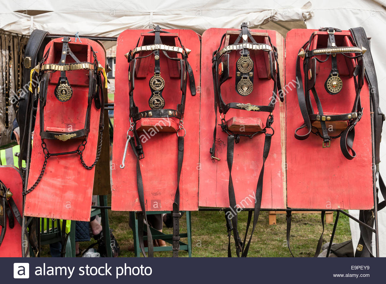 Horse harness display - Stock Image