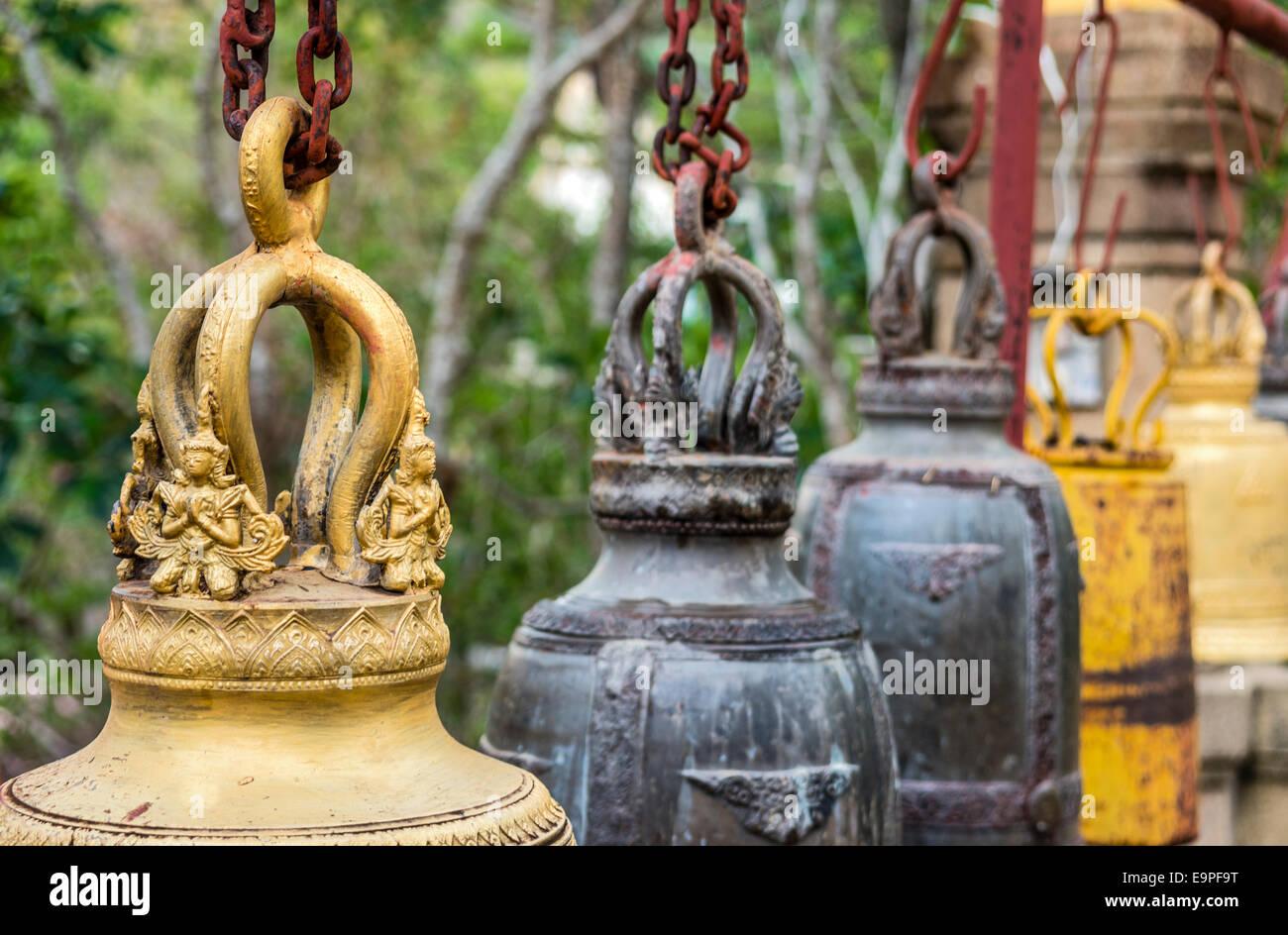 Buddhist temple bells at Wat Chaiyaphum Phithak, Thailand | Buddhistische Tempel Glocken im Wat Chaiyaphum Phithak, - Stock Image
