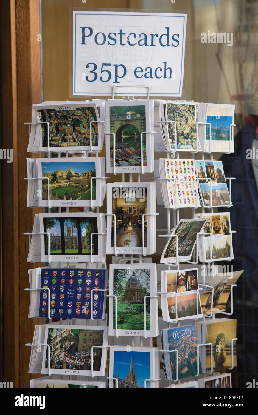 Postcards on sale in Oxford, university town, Oxfordshire, England, UK - Stock Image