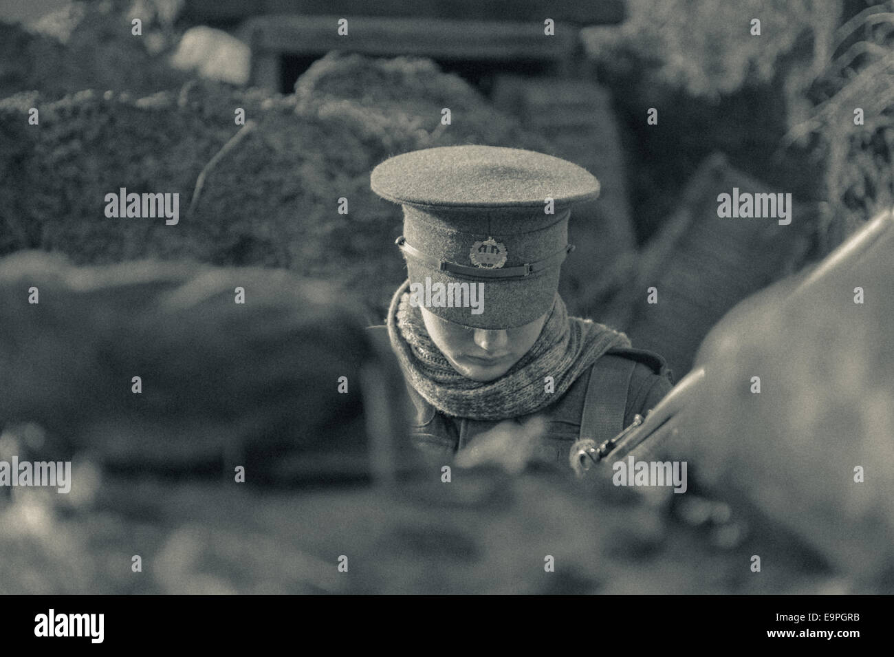 World War One, WW1 living history re-enactment, Trench warfare, Surrey, The Great war centenary soldiers, - Stock Image