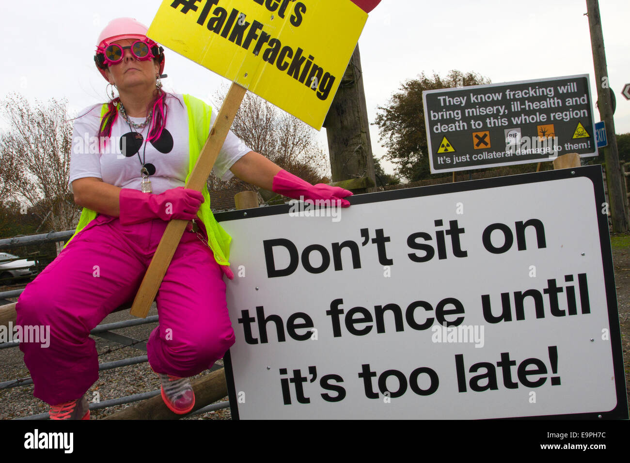 Westby Nr Blackpool, Lancashire 31st October, 2014. Frack Free Lancashire_Nana Rave a Local Resident opposed to - Stock Image