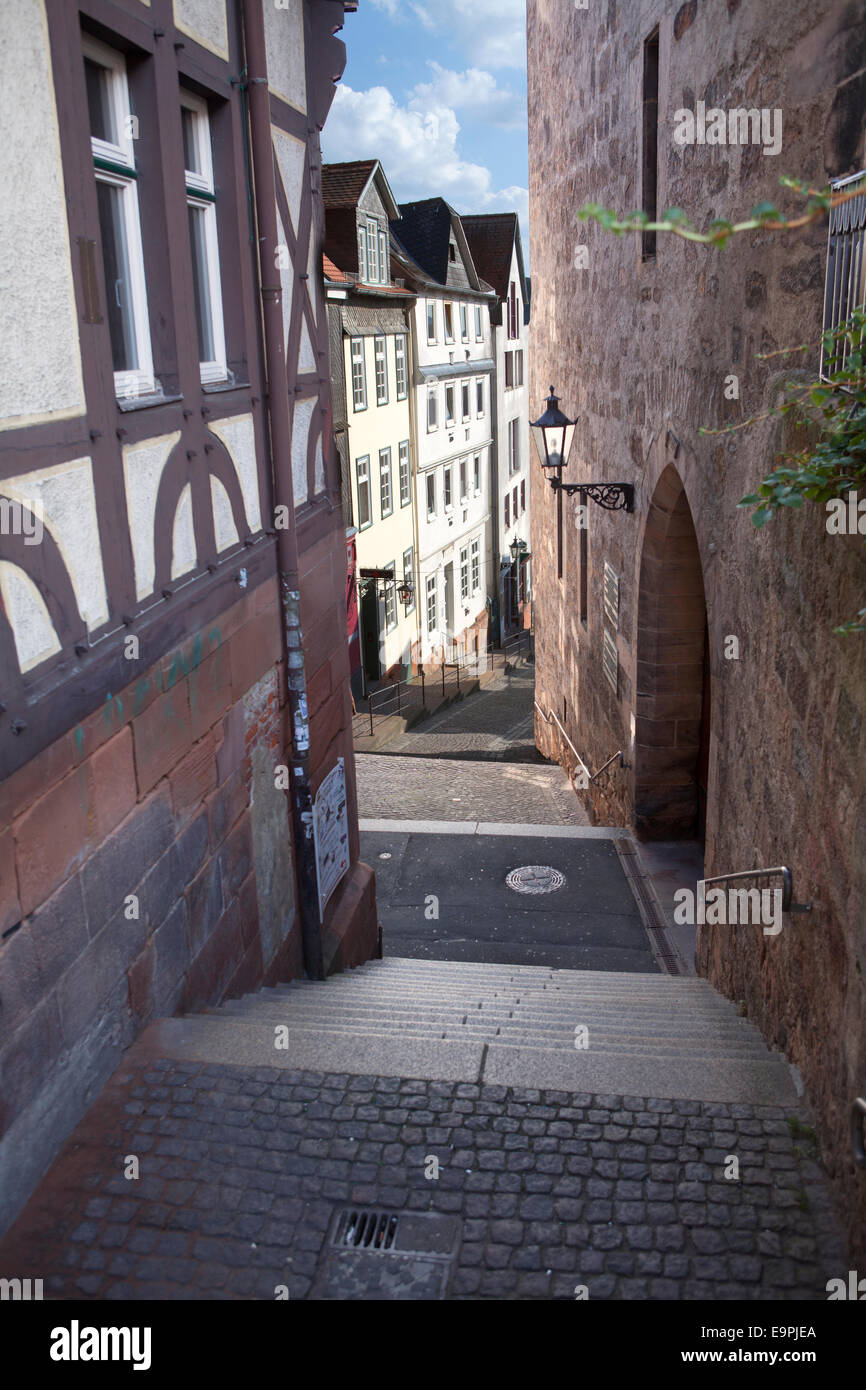 Steile Strasse street, Reitgasse, historic half-timbered houses, historic centre, Stock Photo