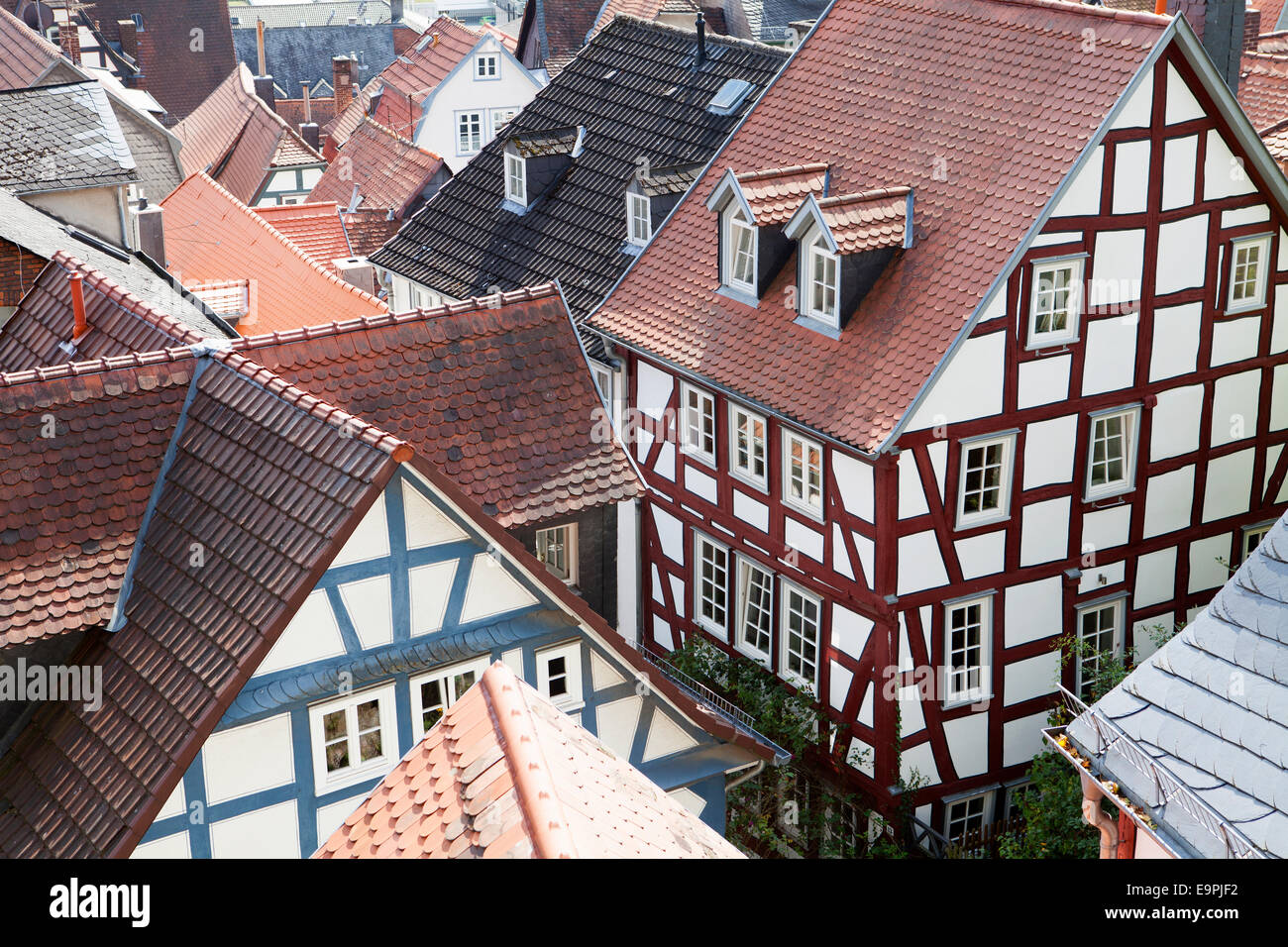 Overlooking the roofs of the historic centre, Marburg, Hesse, Germany, Europe, - Stock Image