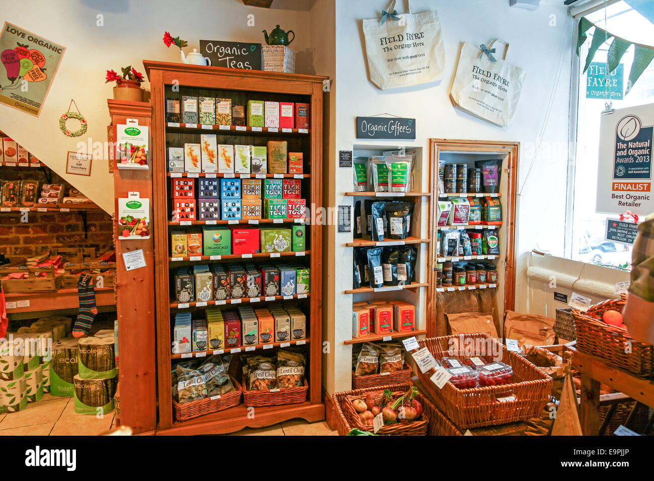 a display of organic tea and coffee at field fayre organic shop ross