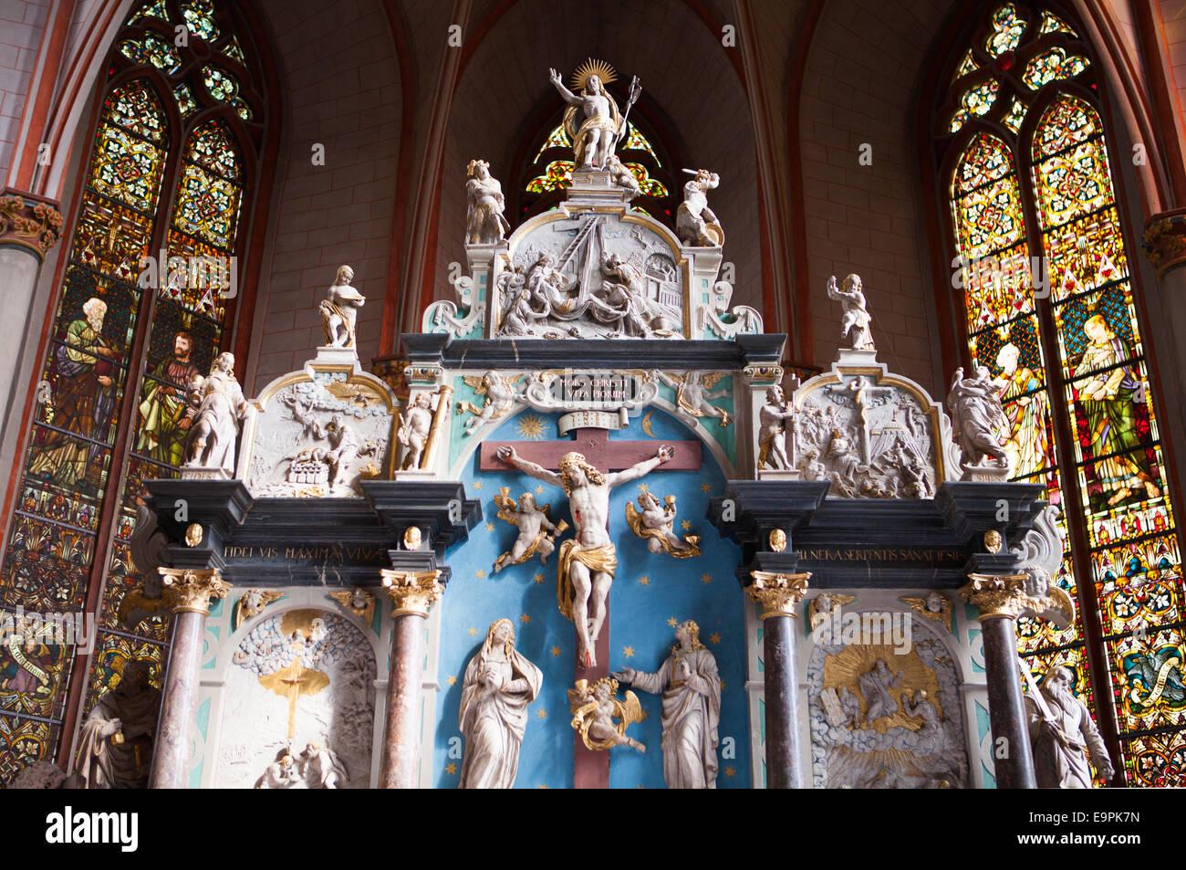 Altar, St Mary's parish church, Marburg, Hesse, Germany, Europe , - Stock Image