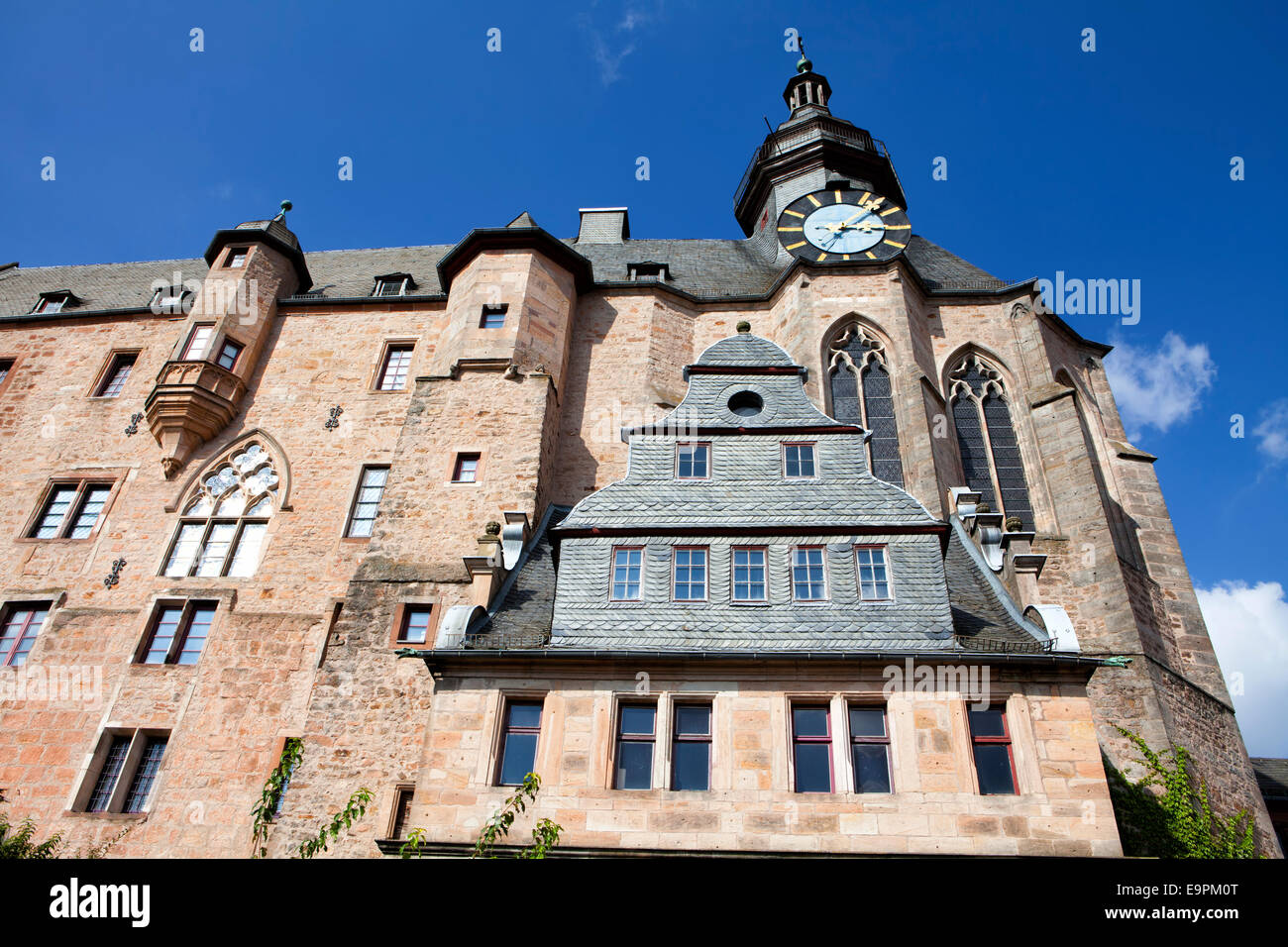Marburg Castle, Landgrafenschloss, Marburg, Hesse, Germany, Europe, - Stock Image