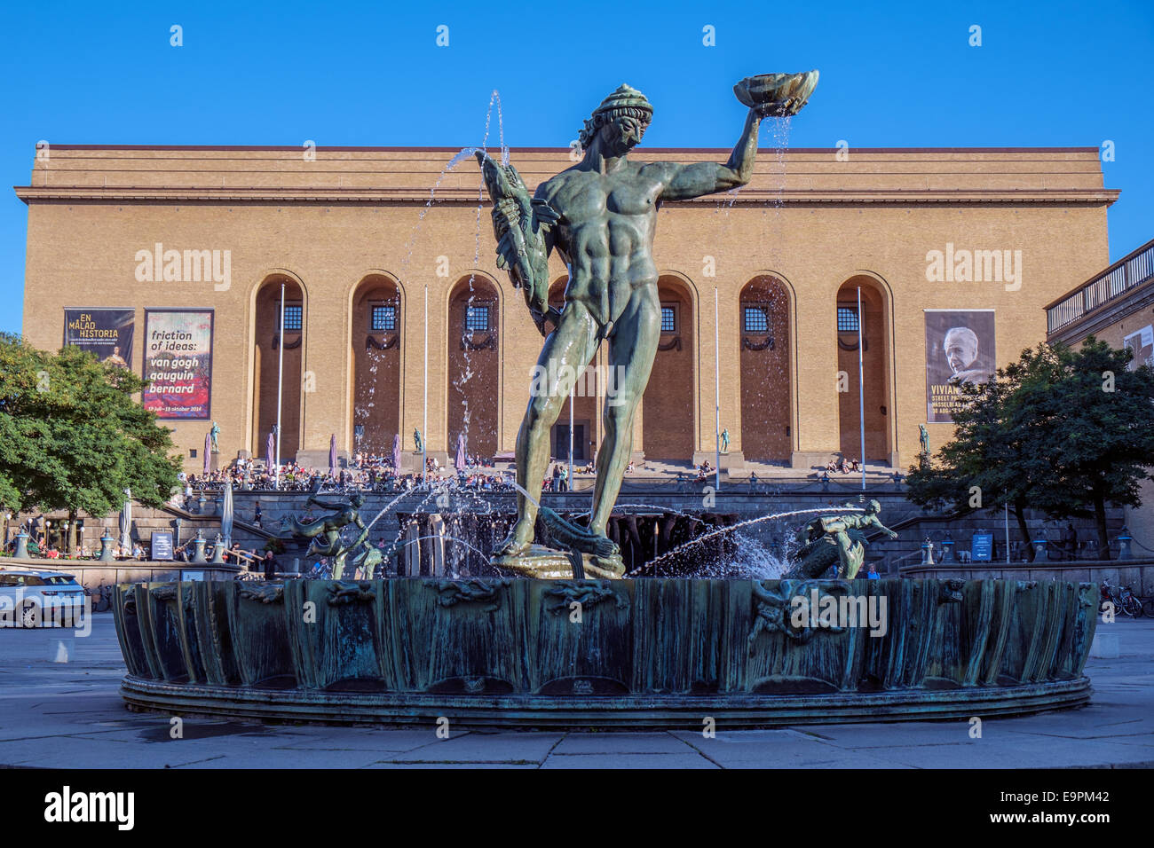 The iconic statue Poseidon by Carl Milles in front of Gothenburg art museum. - Stock Image