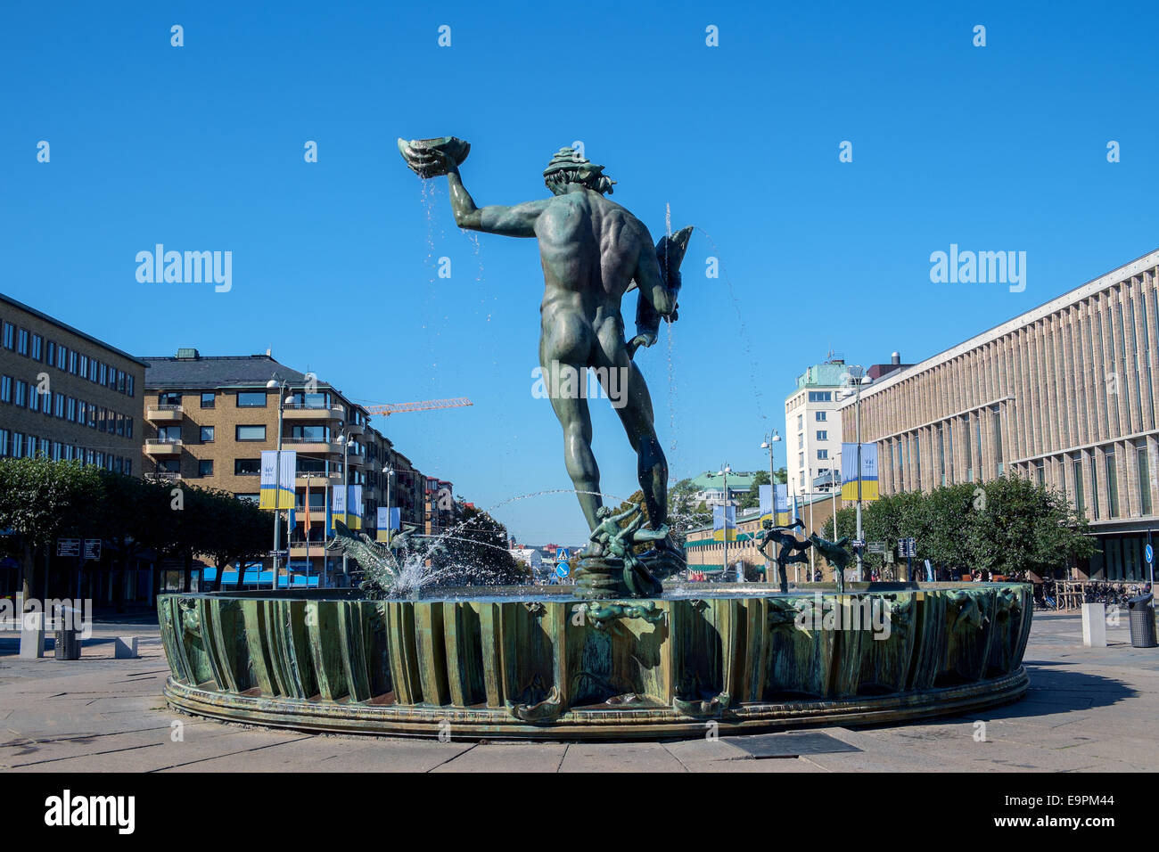 The iconic statue Poseidon by Carl Milles at Götaplatsen in Gothenburg. - Stock Image