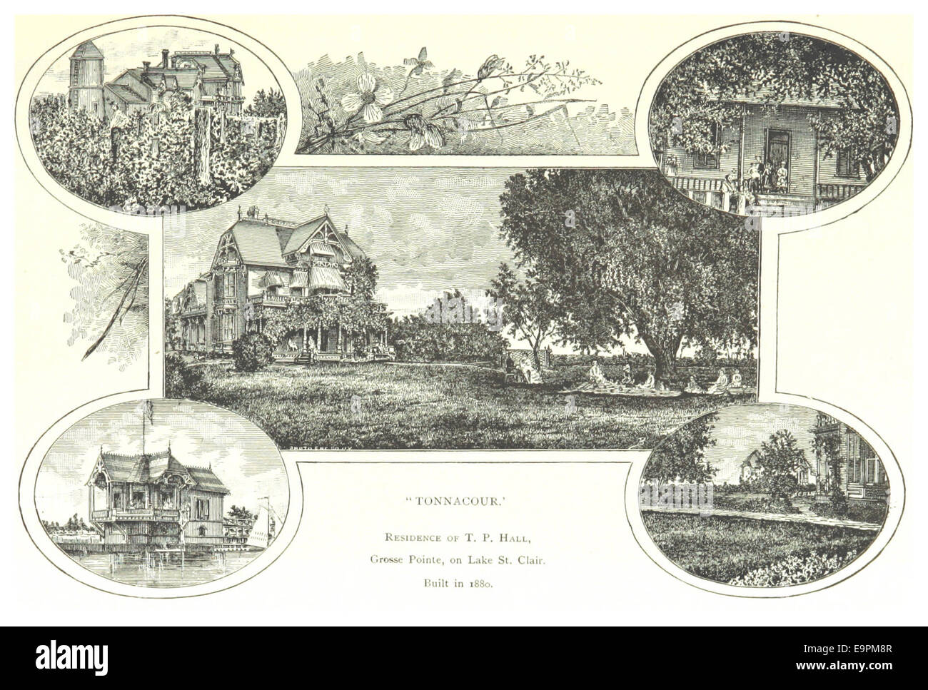 FARMER(1884) Detroit, p505 TONNACOUR - THE RESIDENCE OF T.P. HALL, GROSSE POINTE, ON LAKE ST. CLAIR. BUILT IN 1880 - Stock Image