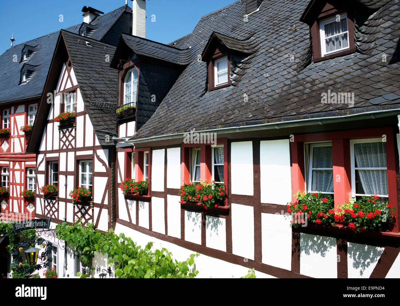 Half timbered buildings Beilstein Moselle Valley Germany - Stock Image