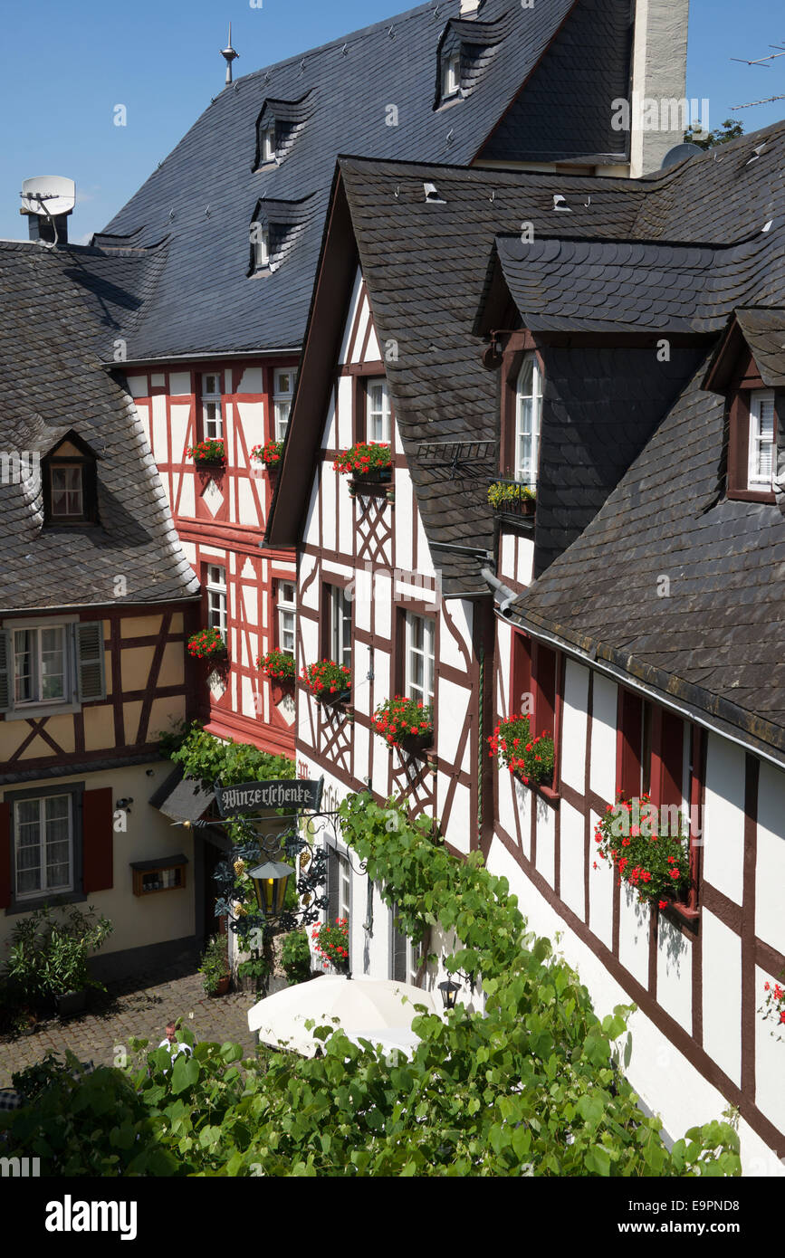 Half timbered buildings picturesque Beilstein Moselle Valley Germany - Stock Image