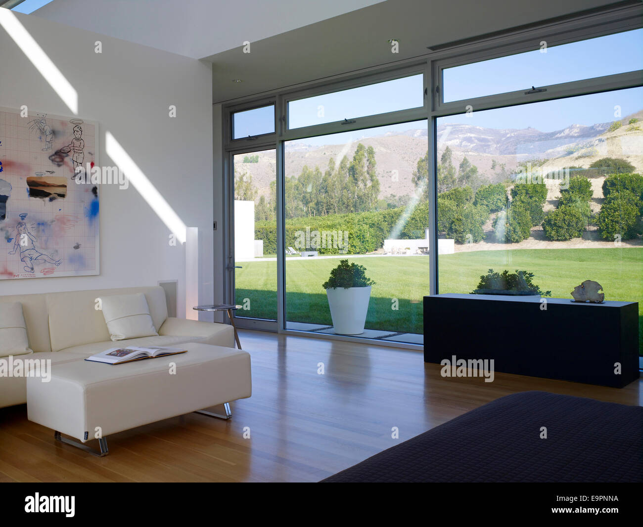 View through windows from living room in Sharpe Residence, Somis, California, USA. - Stock Image
