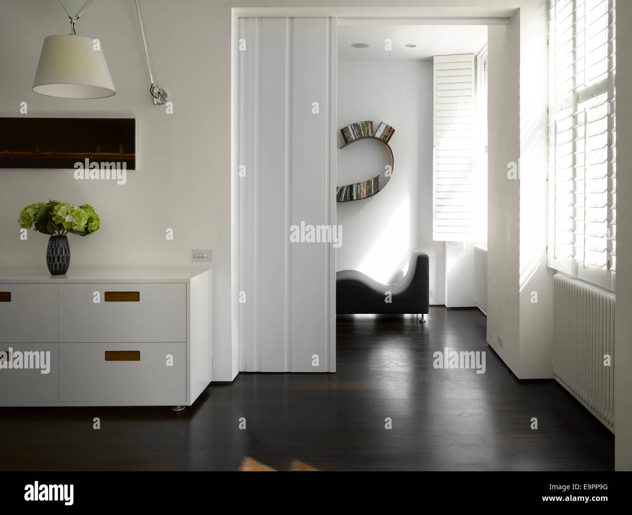 White Sliding Door In Slide Apartment Bayswater London Uk Stock