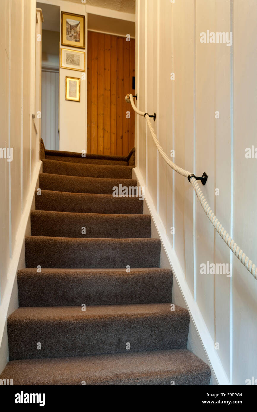 Stairs With Rope Handrail In Renovated Cottage, Kingston Upon Thames,  England, UK.