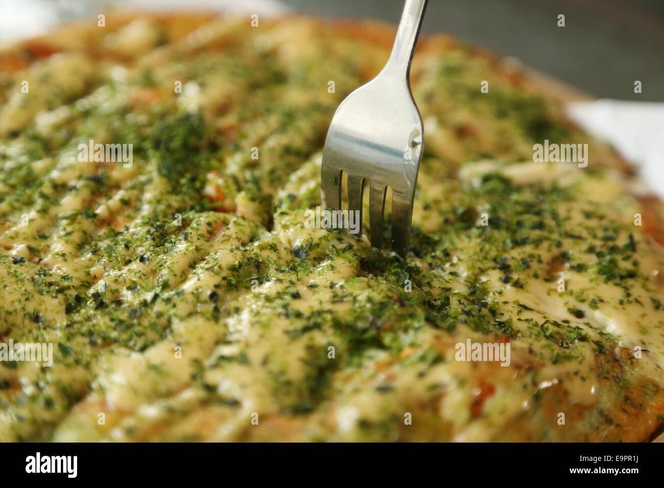 Pizza Japanese style in a cafe Stock Photo