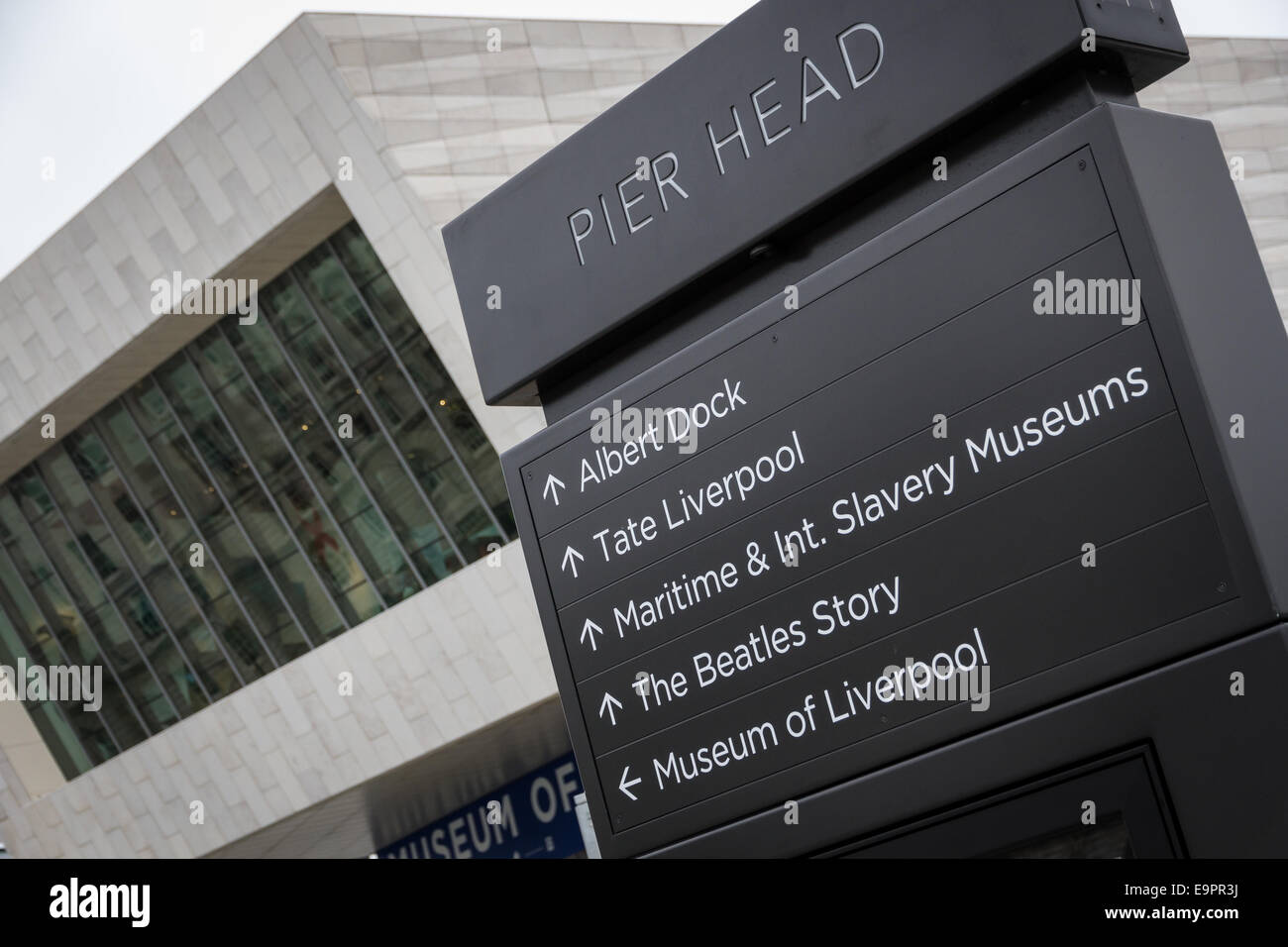 Wayfinding signage at Pier Head in Liverpool with the Museum of Liverpool in the background. - Stock Image