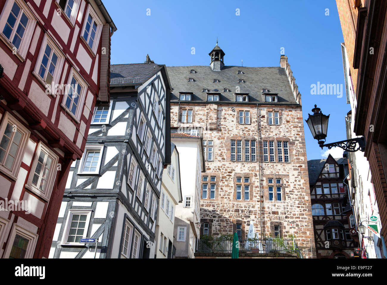 Steile Strasse street, Reitgasse, historic half-timbered houses, historic centre, Marburg, Hesse, Germany, Europe Stock Photo