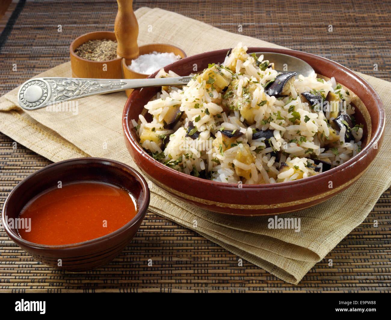 Sriracha and honey eggplant rice - Stock Image