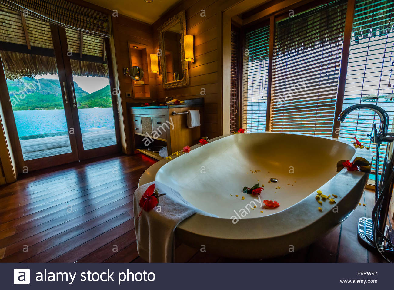Interior View Of Overwater Bungalow Suite With Plunge Pool