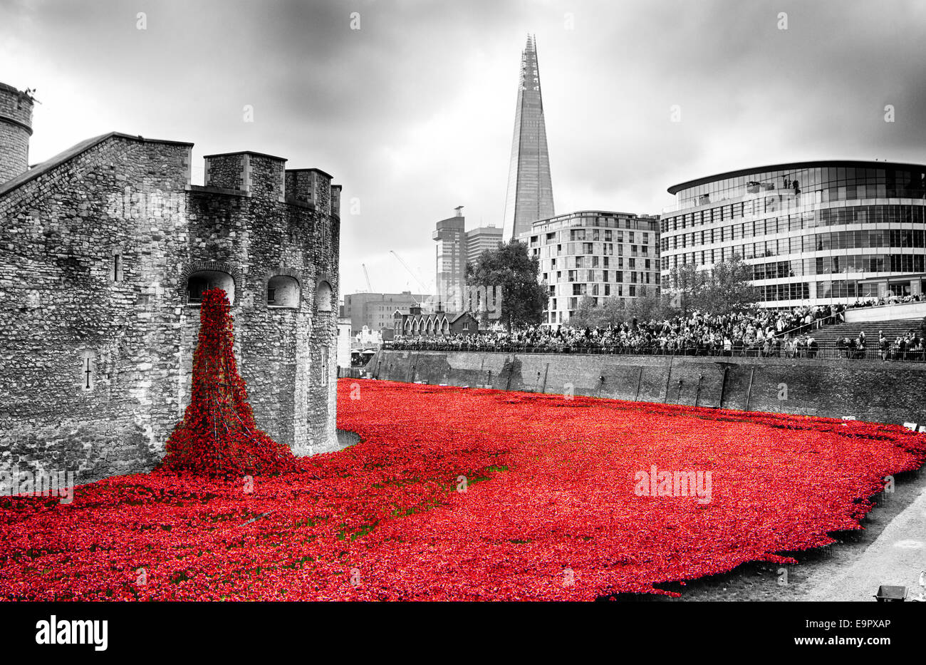 Blood Swept Lands and Seas of Red display at the Tower of London.    Desaturated to remove colour from the surrounding - Stock Image