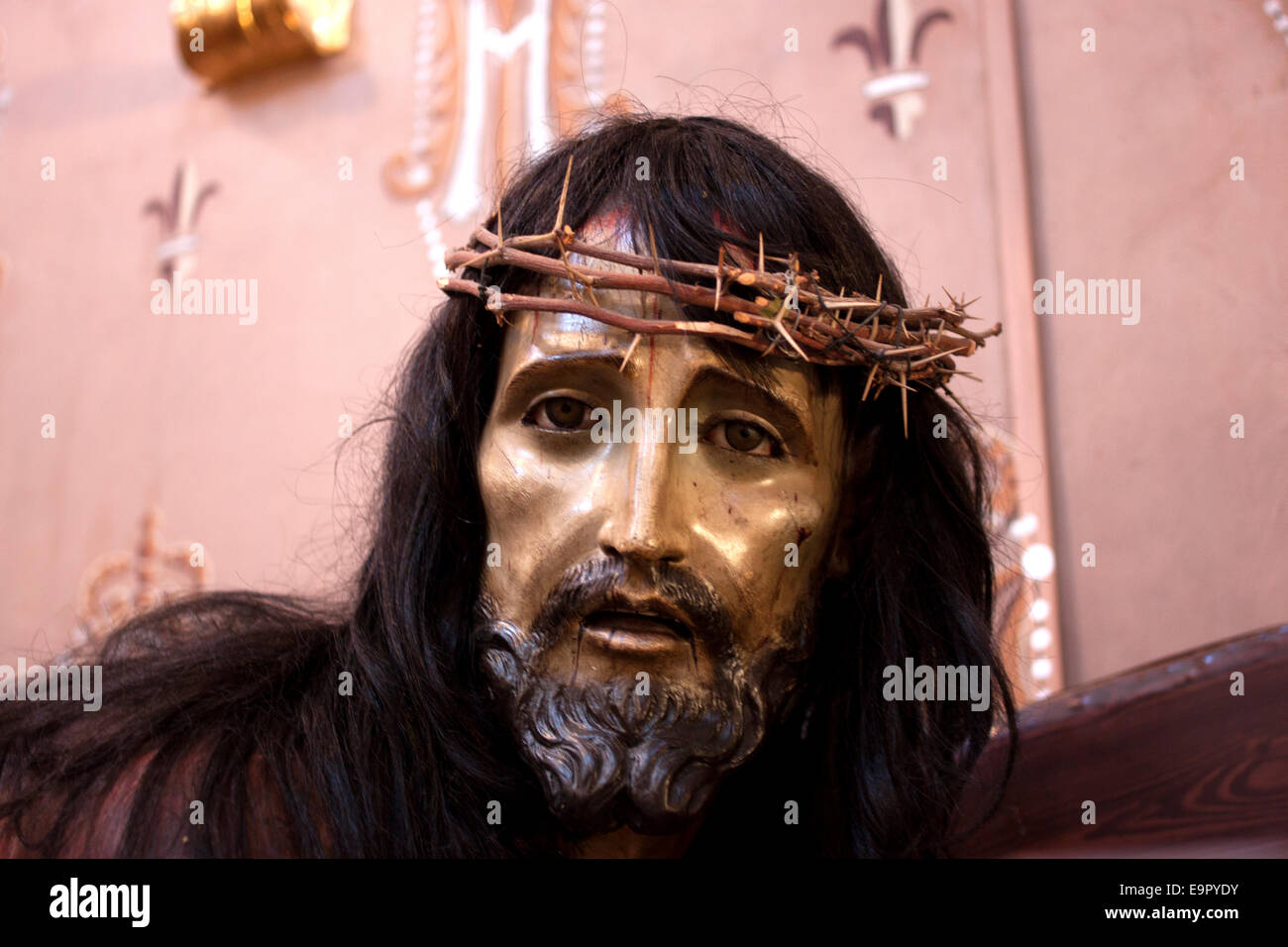 A Wooden Sculpture Of Jesus Christ Wearing The Crown Thorns Decorates Church In Guanajuato