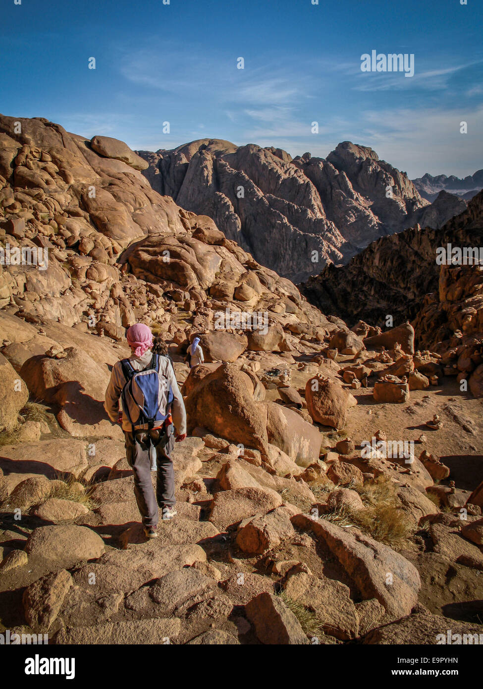 Pilgrims hiking down from the top of Mount Sinai, sacred to Muslims, Christians and Jews, in Egypt's Sinai Peninsula. - Stock Image