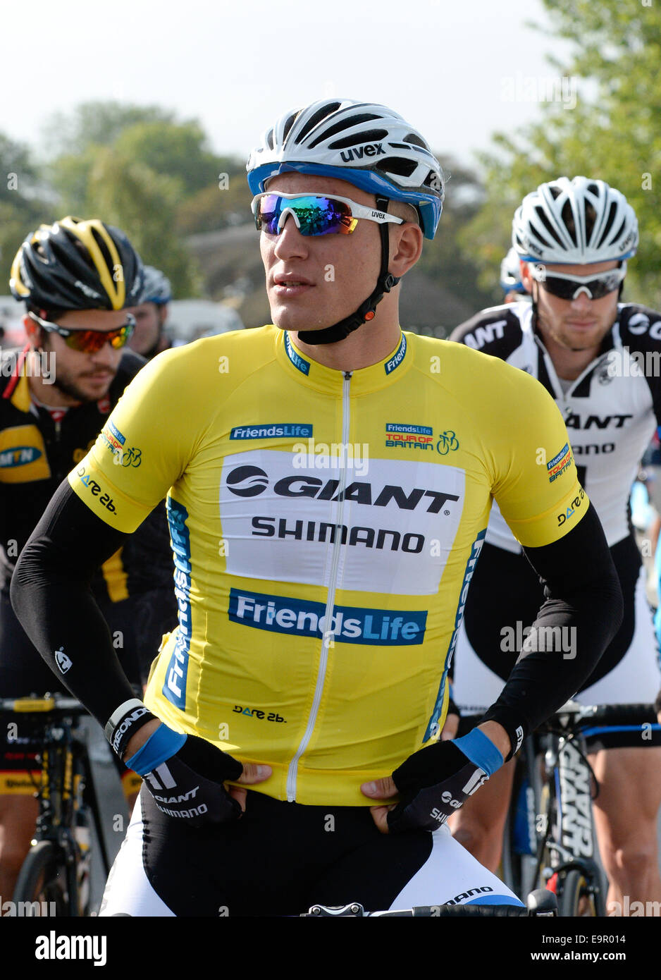 Marcel Kittel of Giant Shimano pictured at the start of the second stage of the Tour of Britain in Knowsley - Stock Image