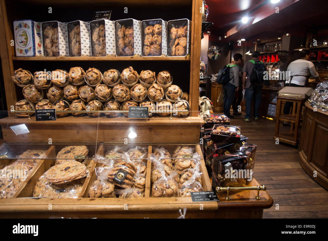 PARIS, FRANCE - SEPTEMBER 10, 2014:  View of bakery items on display at patisserie in Paris France. - Stock Image