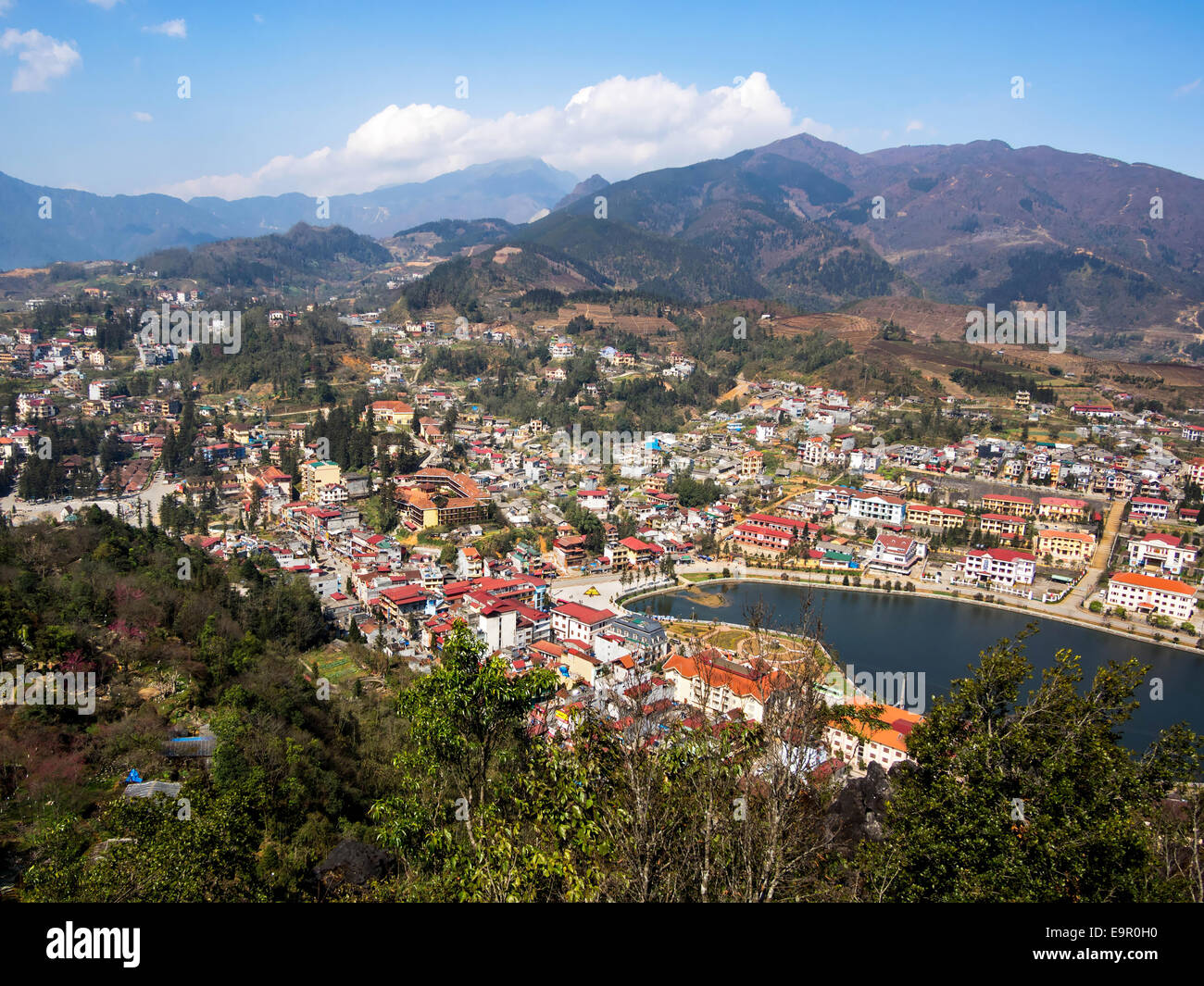 General view of Sapa Town, Lao Cai, North Vietnam. Stock Photo