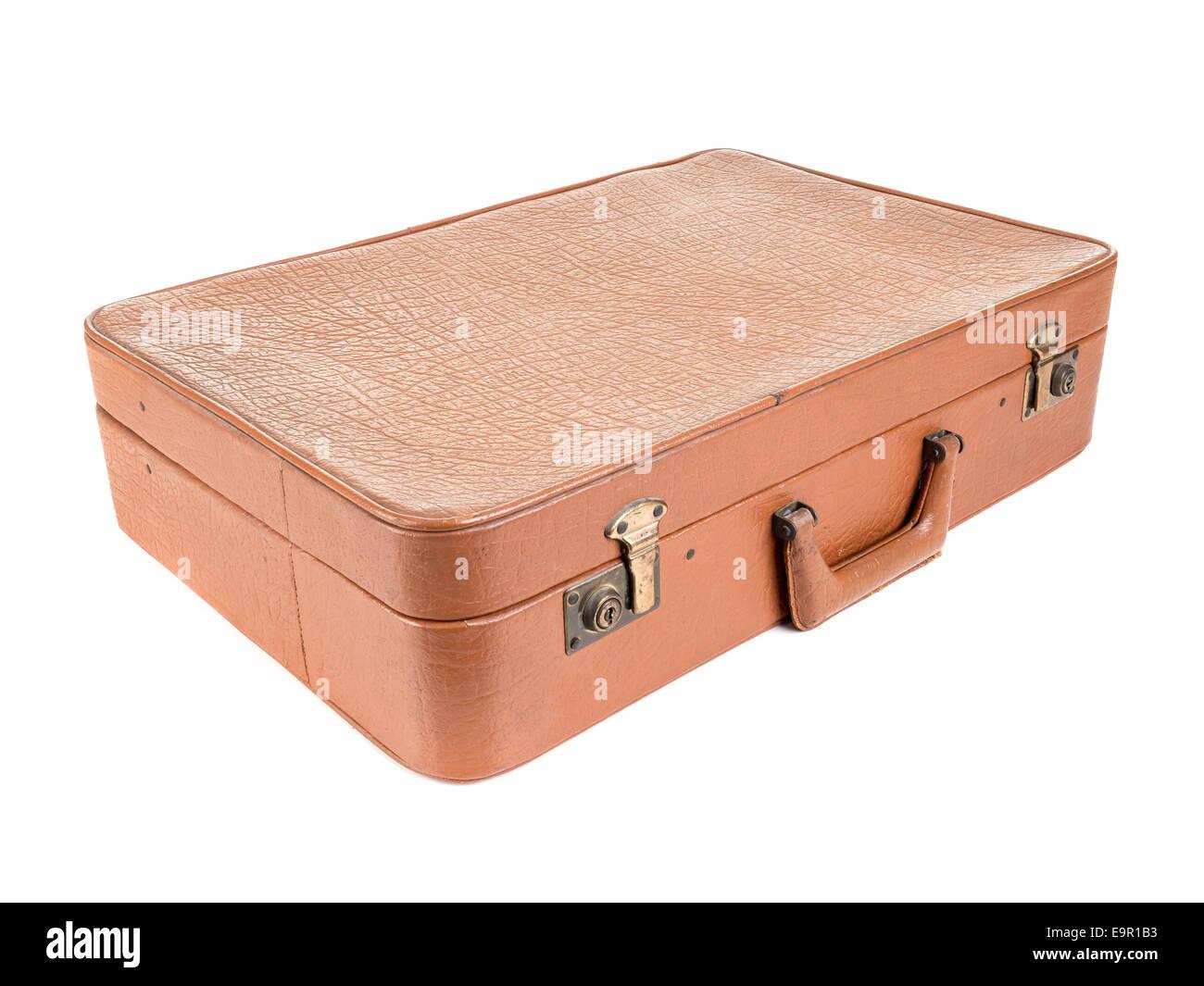 Classic leather suitcase shot on white background - Stock Image