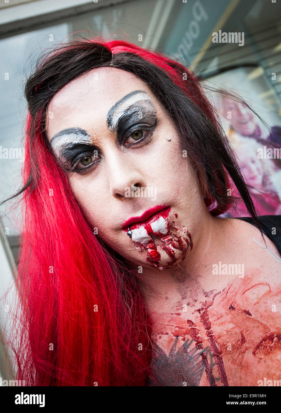 Newquay, Cornwall. 31st October 204.  Zombies loiter around in Newquay High Street. Credit:  Gordon Scammell/Alamy - Stock Image