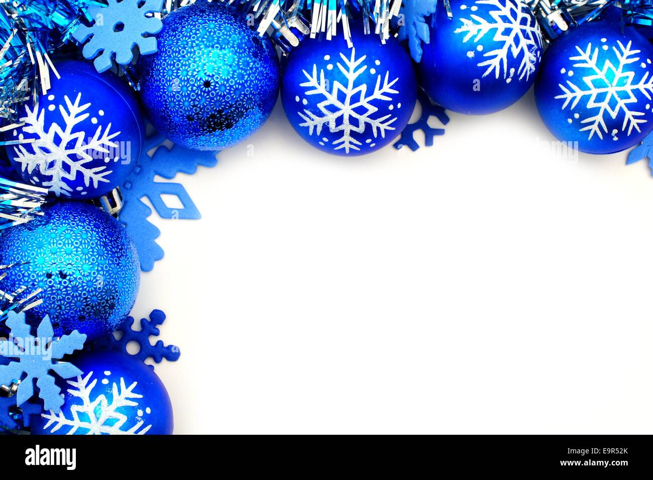 Blue Christmas corner border with baubles and snowflakes Stock Photo ...