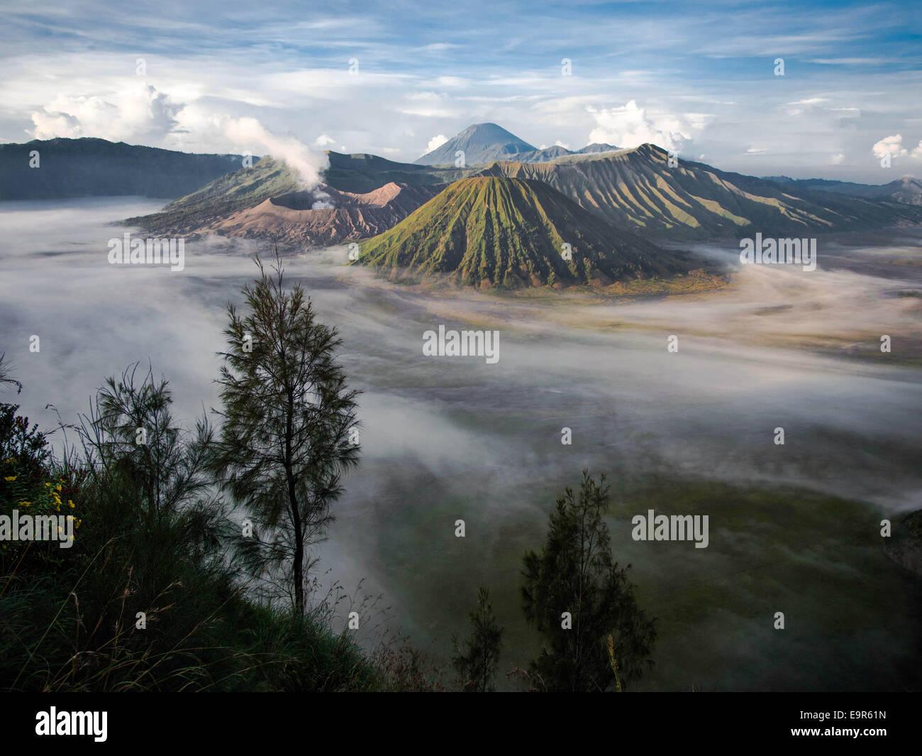 Mount Bromo, Gunung Semeru and Mount Batok, Central Java, Indonesia. - Stock Image