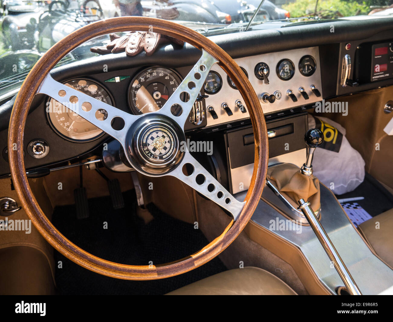 the interior of a classic jaguar e type racing car stock photo 74883625 alamy. Black Bedroom Furniture Sets. Home Design Ideas