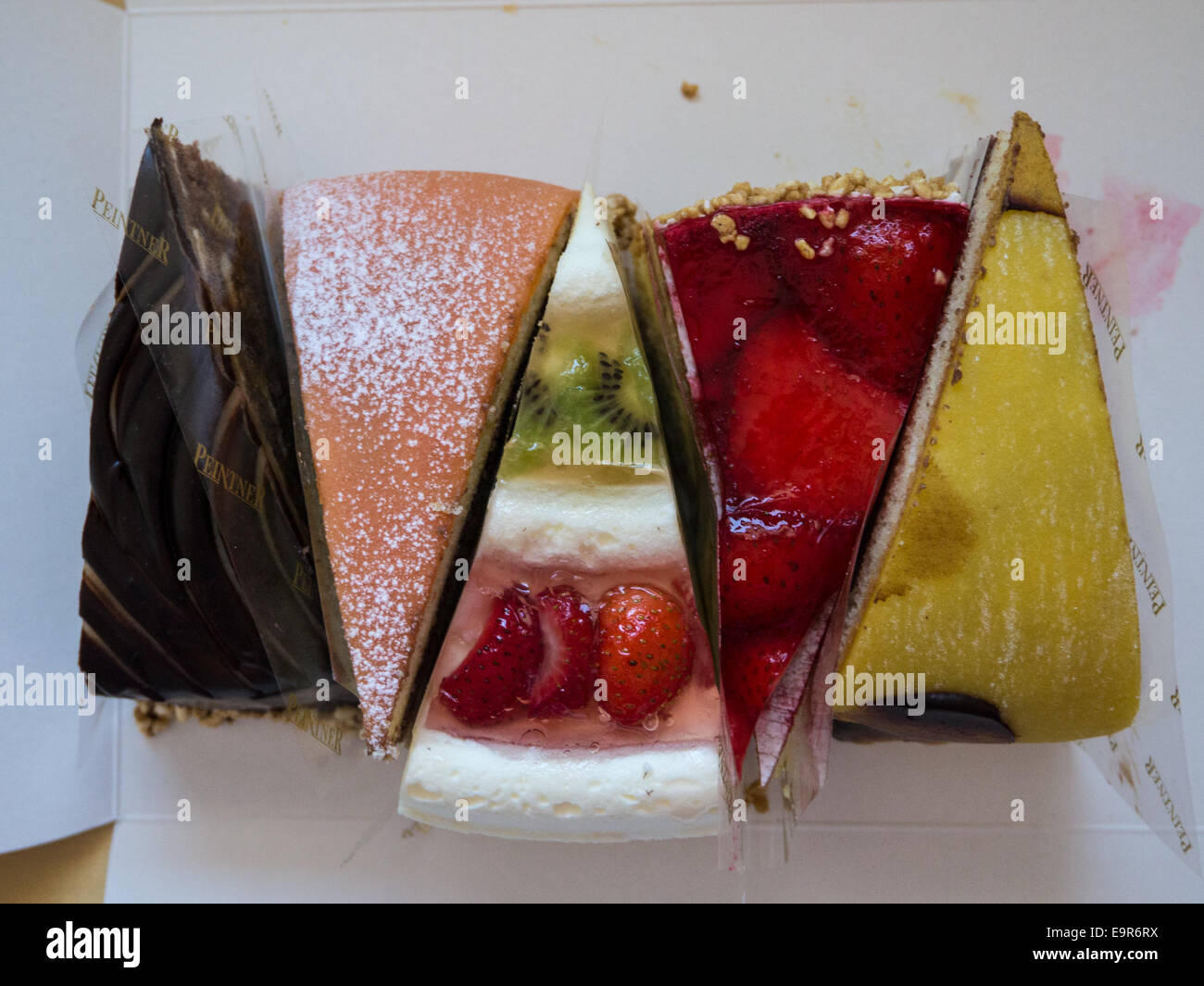 Austrian cakes from above - Stock Image