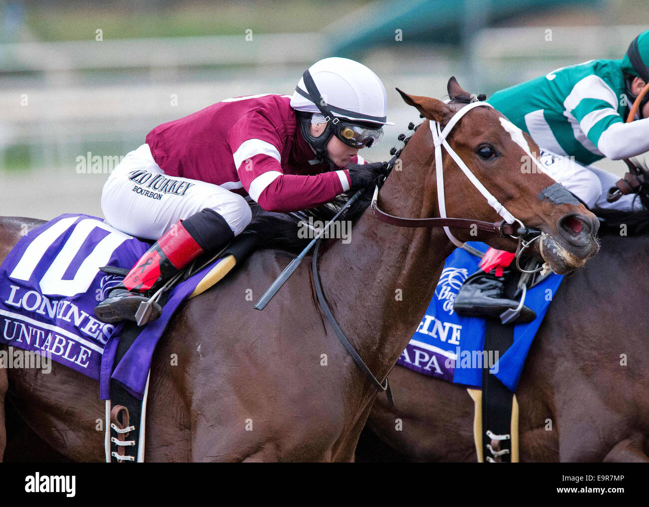 Arcadia, CA, USA. 31st Oct, 2014. October 31, 2014: Untapable (10, white cap), ridden by Rosie Napravnik and trained - Stock Image