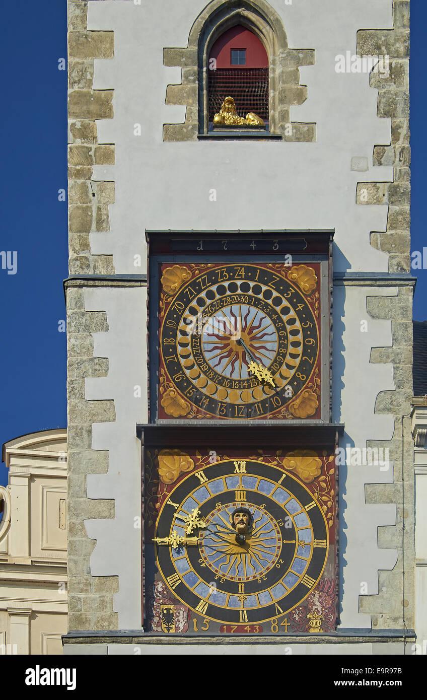 Clocks on Old City Hall in Görlitz, Germany - Stock Image