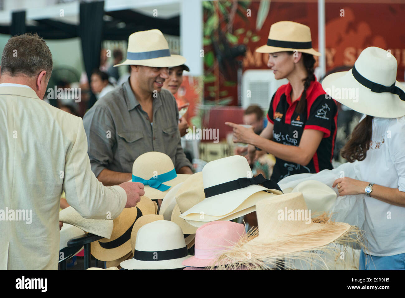 6759fcf68cc Panama hat seller at the King s Cup Polo Tournament in Bangkok Stock ...