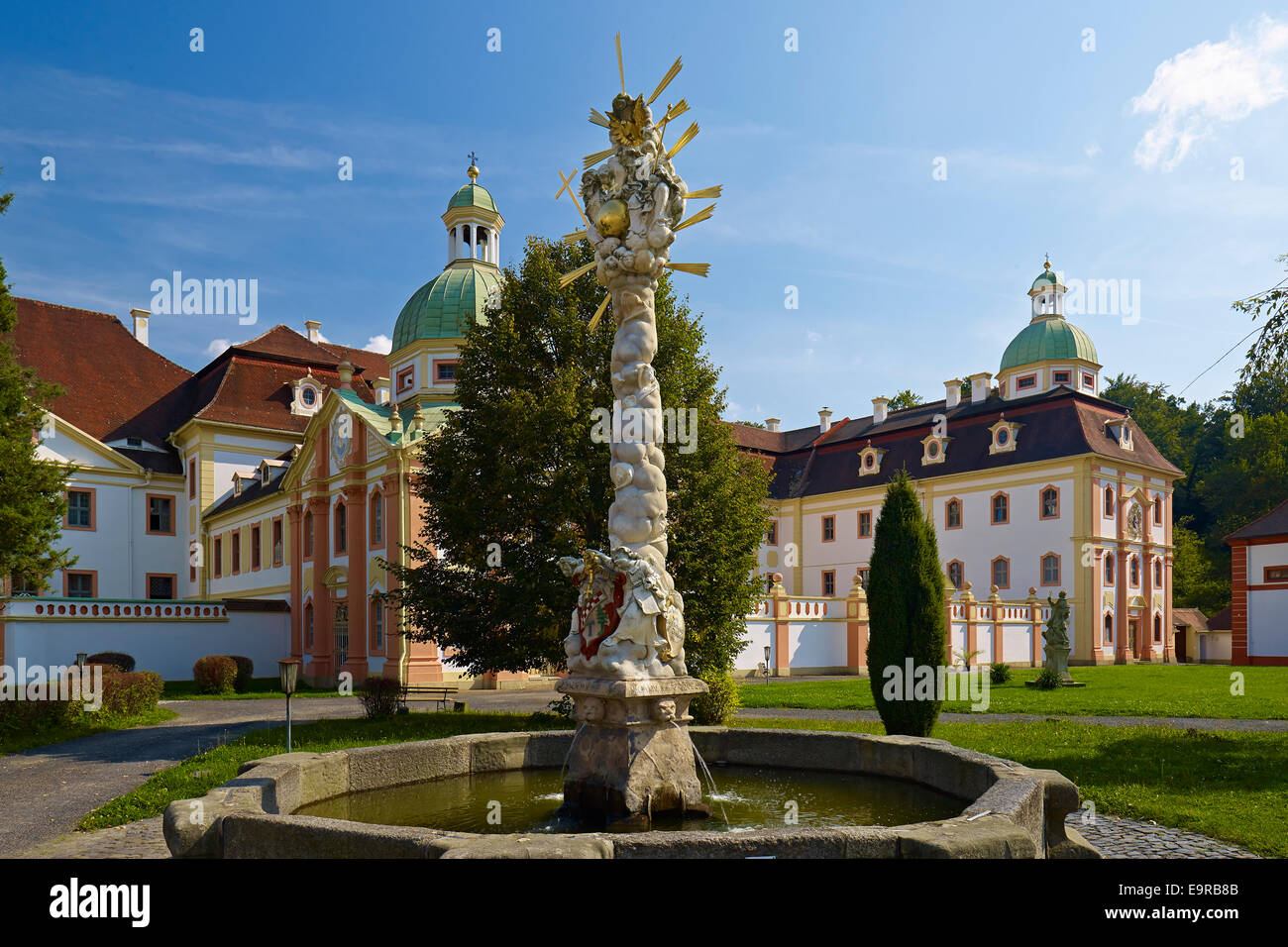St. Marienthal Abbey at Ostritz with Trinity fountain, Germany - Stock Image