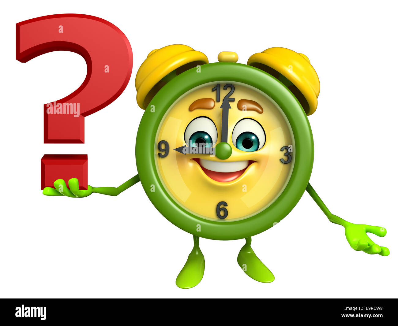 Cartoon Character of table clock with question mark - Stock Image