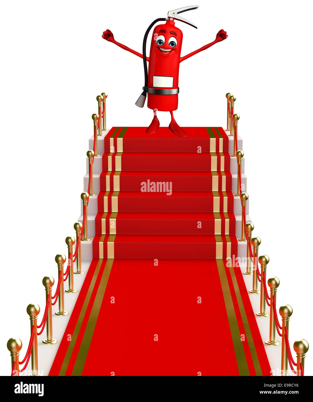 Cartoon Character Of Fire Extinguisher With Red Carpet Stock Photo Alamy