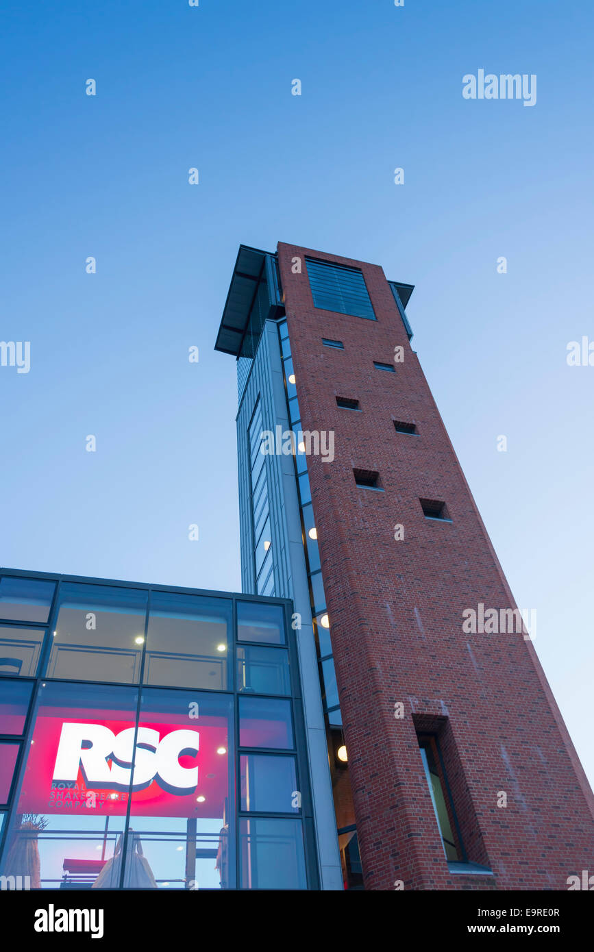 The tower and atrium at the Royal Shakespeare Company's Swan Theatre in Stratford upon Avon at sunset - Stock Image