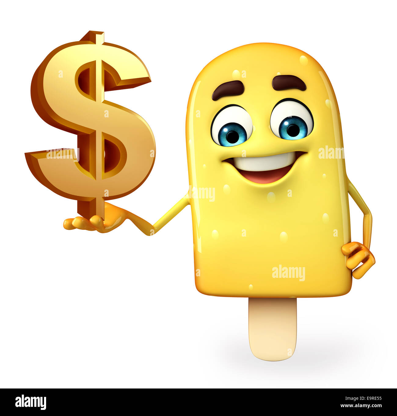 Cartoon Character of Candy with dollar sign Stock Photo