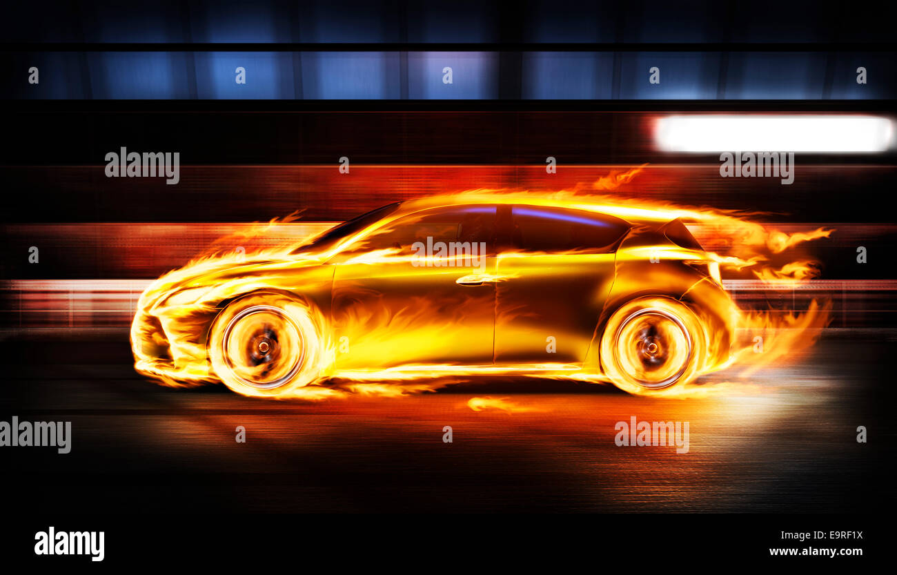 Covered in burning flames sports car racing along a tunnel, side view Stock Photo