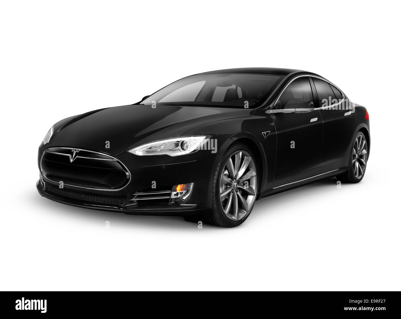Black 2014 Tesla Model S luxury electric car isolated on white background with clipping path - Stock Image