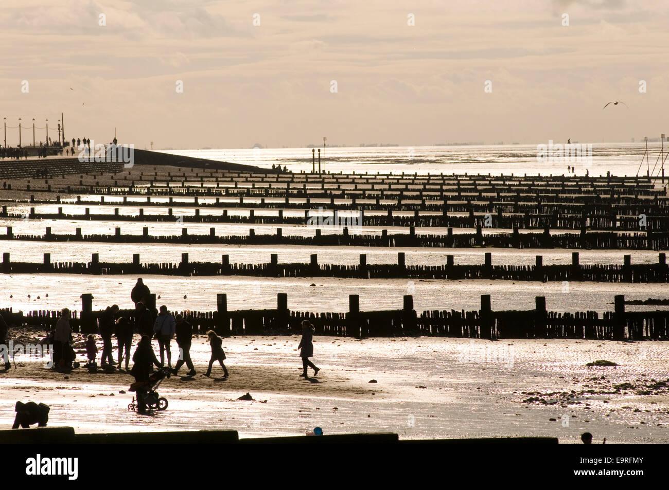 breakwaters break water waters coastal erosion east cost of Britain uk hunstation beach beaches norfolk sand sandy - Stock Image