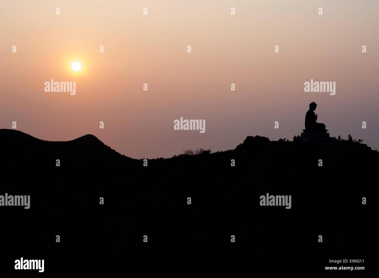 Hong Kong Big Buddha at sunset, Lantau Island - Stock Image
